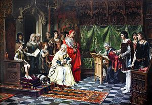 Prince of Asturias - Education of Prince John, by Salvador Martínez Cubells 1877. John was the only son of the Catholic Monarchs and heir of all his domains during his lifetime.