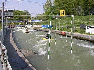 Artificial whitewater - Eiskanal in Augsburg, Germany