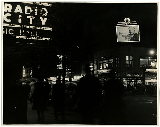 Electric sign opposite Radio City Music Hall, New York City. Campaign 1940 (8122645830)