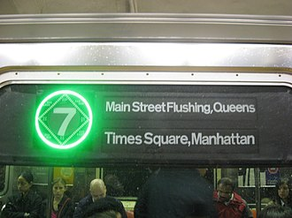 7 (New York City Subway service) - Image: Electronic LCD Display Upgrade on the R62A 7 Train