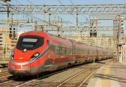 FS' Frecciarossa 1000 high speed train, with a maximum speed of 400 km/h (249 mph), is the fastest train in Italy and Europe. Elettrotreno ETR.400.jpg