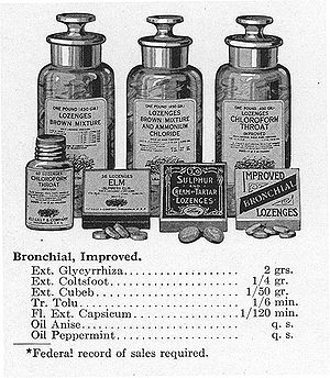 Eli Lilly and Company - An assortment of Lilly's throat lozenges from a 1906 sales book.