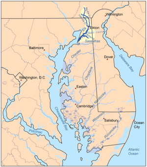 Elk River (Maryland) - Map of the rivers of the Eastern Shore of Maryland with the Elk and its watershed highlighted.