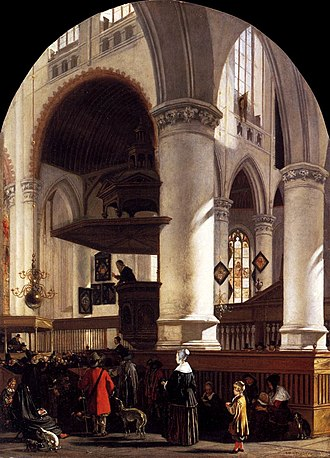 Dutch Republic - Interior of the Oude Kerk at Delft during a Sermon, 1651
