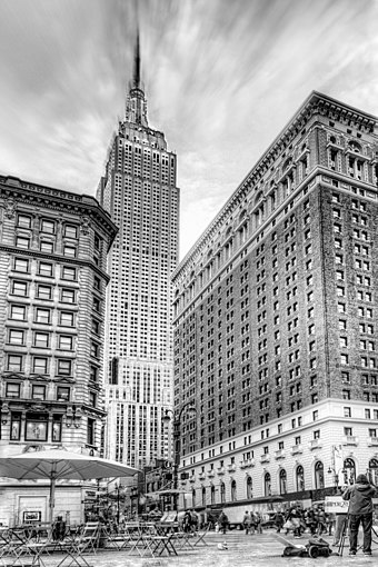 The Empire State Building was the tallest building in the world when completed in 1931, during the Great Depression. Empire State Building BW - NYC.jpg