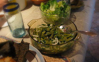 Nopalito - Nopal salad, with the nopal pads cut into strips