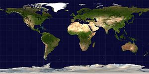 Science On a Sphere - An equirectangular projection of the Earth; the standard parallel is the equator.