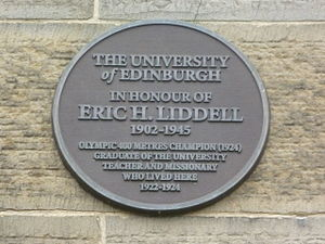 Eric Liddell - Memorial plaque at Edinburgh University