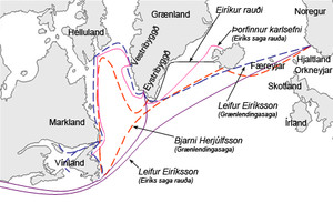 Vinland sagas - Possible routes traveled in Saga of Eric the Red and Saga of the Greenlanders