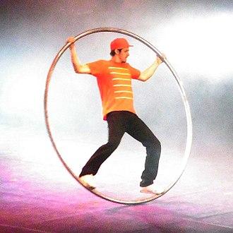 Cyr wheel - Urbanatix performer in Nordsternpark at Ruhr's 2011 ExtraSchicht festival