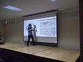 FLISOL 2014 en la Prepa 55 Chicoloapan, Estado de México, México, conferencia sobre wikimedia.JPG