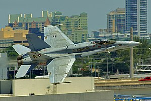 Air & Sea Show - F/A-18 Hornet flying in Ft. Lauderdale during 2016 Air Show