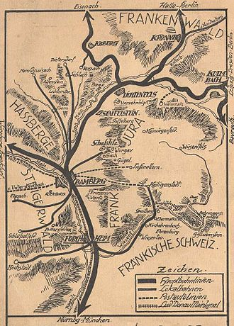 Forchheim - Travel map from 1912 with Forchheim near bottom
