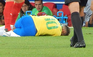 Neymar lying on the ground during the 2018 FIFA World Cup in Russia