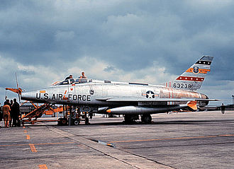 "North American F-100 Super Sabre - F-100D of the 417th TFS, 50th TFW post January 1965 (""buzz number"" i.e., FW-238 painted over)"