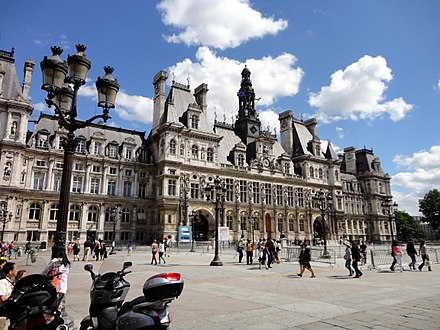 The Hotel de Ville, or city hall, has been at the same site since 1357. Facade of Hotel de Ville de Paris - 2012.jpg