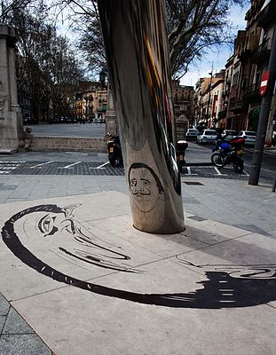 A surrealist tribute to Salvador Dalí at the base of the Rambla, Figueres