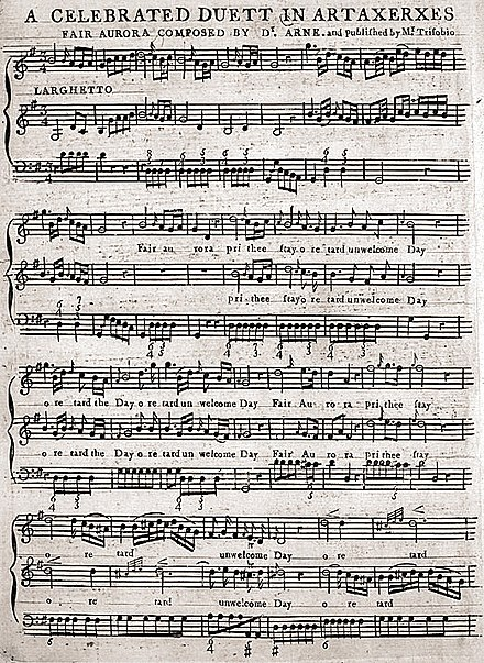 The piano and voice score for Fair Aurora, pr'ythee stay (p. 1), published in Philadelphia in 1796 Fair Aurora by Thomas Arne piano vocal score published 1796.jpg