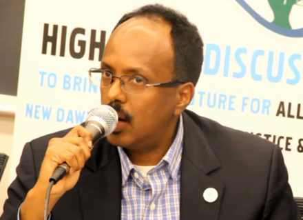 Mohamed Abdullahi Mohamed (Farmajo), current President and former Prime Minister of Somalia. Farmaajohd13.png