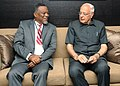 Farooq Abdullah with the Prime Minister of Guyana, Mr. Sam Hinds, at a bilateral meeting, on the sidelines of International Seminar on Energy Access, in New Delhi on October 10, 2012.jpg
