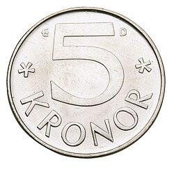 Une pièce de 5 couronnes de 1976.