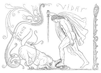 Víðarr - A depiction of Víðarr defeating Fenrir by Lorenz Frølich, 1895