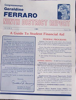Geraldine Ferraro - As with many representatives, Ferraro issued regular newsletters to her constituents.