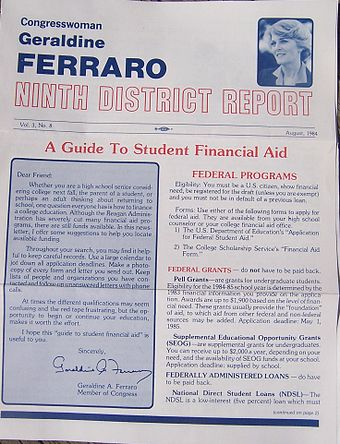 As with many representatives, Ferraro issued regular newsletters to her constituents. FerraroDistrictReport.jpg