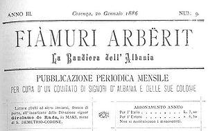 Fiamuri Arbërit - January 1886 Italian-language issue of Fiamuri Arbërit