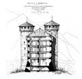 Fig 185, castello di Aymavilles, ricostruzione della sezione trasversale alla fine del sec XIV, disegno nigra.tiff