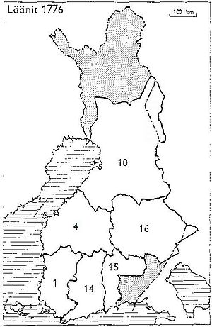 Oulu Province - Provinces of Finland 1776: 1: Turku and Pori, 4: Vaasa, 10: Oulu, 14: Uusimaa and Häme, 15: Kymenkartano, 16: Savo and Karelia