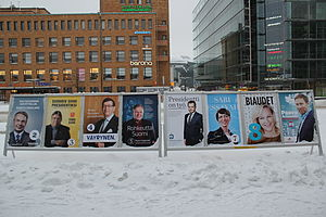 Finnish presidential election, 2012 - Posters of all candidates in Helsinki.