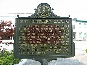 1st Regiment Kentucky Volunteer Cavalry - Historical marker to the regiment in Liberty