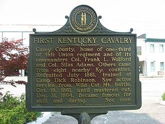 1st Regiment Kentucky Volunteer Cavalry - Historical marker to the regiment in Liberty