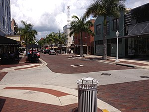 Florida State Road 80 - Former SR 80 through downtown Fort Myers as First Street.  The street is paved with brick to preserve the historic nature of the area.