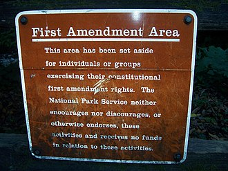 """Free speech zone - A """"First Amendment Area"""" at the Muir Woods National Monument."""