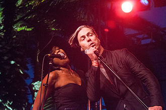 Fitz and The Tantrums - Michael Fitzpatrick and Noelle Scaggs at a 2010 performance in San Diego