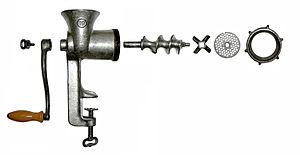 Meat grinder - Disassembled hand-powered grinder