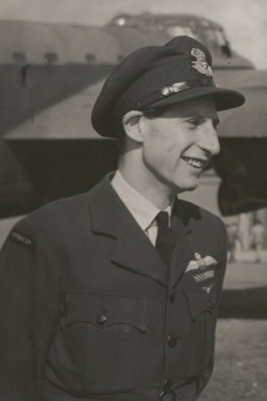 Peter Isaacson - Flight Lieutenant Isaacson with Lancaster Q-for-Queenie, 1943