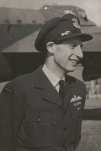 Peter Isaacson - Flight Lieutenant Isaacson with Lancaster Q-for-Queenie, 1943