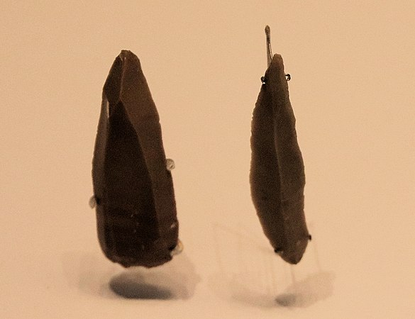 Flint stone points, Boqer Tahtit Cave (Ein Avdat) and el‑Wad Cave, 50000 – 28000 BP (Israel Museum)