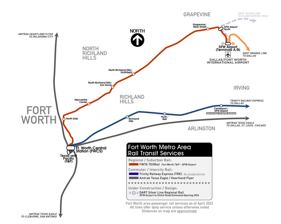 Fort Worth Metro Area Rail Transit Services Map