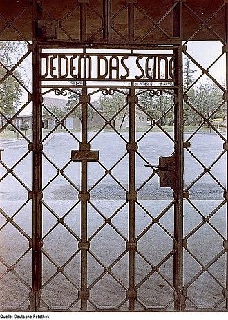 """Buchenwald concentration camp - Buchenwald gate with """"Jedem das Seine"""""""