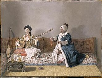 Divan (furniture) - Portrait de Monsieur Levett et Mademoiselle Glavany Assis Sur un Divan en Costume Turc by Jean-Etienne Liotard (Louvre)