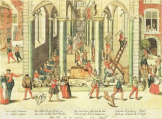 Cult image - Frans Hogenberg, The Calvinist Iconoclastic Riot of August 20, 1566, in Antwerp, the key moment of the Beeldenstorm in 1566, when paintings and church decorations and fittings were destroyed in several weeks of a violent iconoclastic outbreak in the Low Countries. Several similar episodes occurred during the early Reformation period.