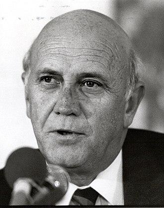 Deputy President of South Africa - Image: Frederik Willem de Klerk, 1990