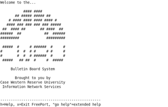 Free-net - Welcome banner for a Free-Net bulletin board system, 1994