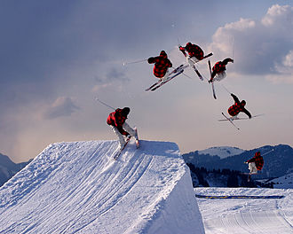Freestyle skiing - Skier performing an Aerial