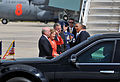 From left, Charlotte Mayor Don Clodfelter, U.S. Sen. Kay Hagan and U.S. Sen. Richard Burr greet President Barack Obama, foreground right, upon his arrival at the North Carolina Air National Guard base 140826-Z-FY745-149.jpg