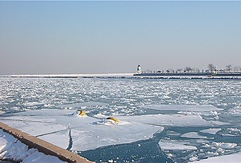 Lake Michigan with frozen surface, as seen fro...